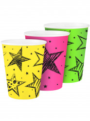 6 Gobelets en carton Neon Party 250 ml