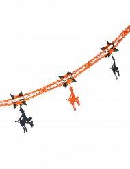 Guirlande en papier sorcière orange et noire Halloween 240 cm