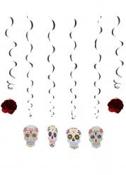 6 Décorations à suspendre Squelette coloré Dia de los muertos 120 cm
