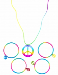 Collier et bracelets hippie multicolores plastique adulte