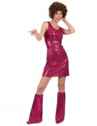 Déguisement Disco Fuchsia à Sequins Femme