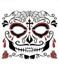 Tatouage ephémere visage Dia de los muertos adulte