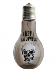 Décoration ampoule tête de mort lumineuse Halloween 11 x 21 cm