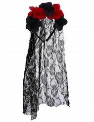 Serre-tête fleurs noir et rouge Dia de los Muertos avec voile dentelle adulte