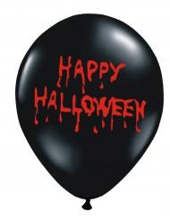 6 Ballons en latex Happy Halloween sanglant noirs 30 cm