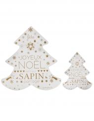 2 Décorations sapin de Noël bois blanc et or