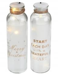 Flacon en verre lumineux Noël modèle aléatoire 18 cm