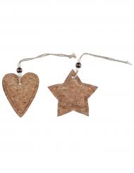 2 Suspensions en liège étoile et coeur 8 x 8 cm