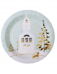 10 Assiettes en carton village de Noël 23 cm