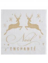 20 Serviettes en papier Noël Enchanté 33 x 33 cm