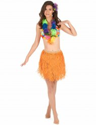 Jupe hawaïenne courte orange papier adulte