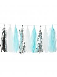 Kit guirlande tassel 18 pompons blancs, argentés, bleu ciel 150 cm