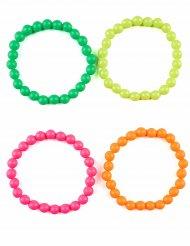 4 Bracelets de perles multicolores adulte