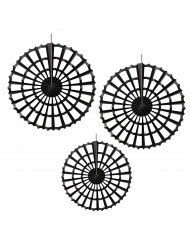 3 Rosaces noires en papier 27 - 37 cm