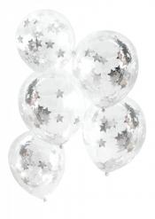 5 Ballons en latex avec étoiles argentées