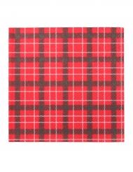 20 Serviettes en papier carreaux rouges Noël 33 x 33 cm