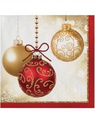 16 Petites serviettes en papier rouges Boules de Noël