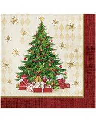 16 Serviettes en papier sapin de Noël 33 x 33 cm