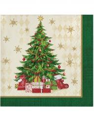 16 Serviettes en papier sapin de Noël 25 x 25 cm