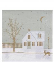 20 Serviettes en papier Village de Noël 33 x 33 cm