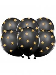 6 Ballons en latex noirs étoiles dorées 30 cm