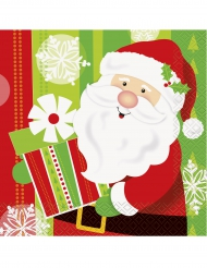 16 Serviettes en papier Petit Père Noël 33 x 33 cm