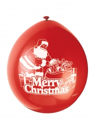10 Ballons latex rouge Merry Christmas 23 cm