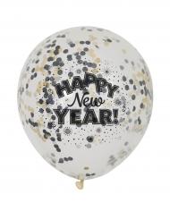 6 Ballons confettis Happy new year 31 cm
