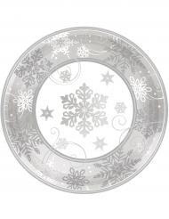 8 Petites Assiettes en carton flocons de neige argentés 18 cm