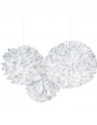 3 Boules décoratives blanches flocons argent