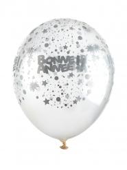 6 Ballons en latex transparents Bonne année argent 30 cm