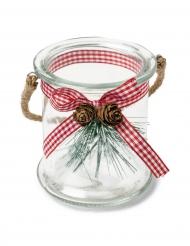 Photophore en verre avec sapin et  ruban vichy 9,5 x 8,5 cm