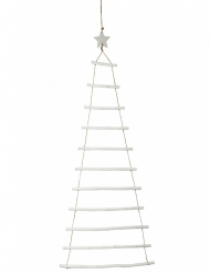 Décoration sapin échelle à suspendre bois blanc 90 cm