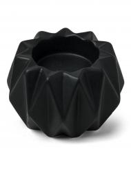 Bougeoir origami résine noir mat 9 x 6 cm