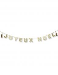 Guirlande Joyeux Noël & tassels paillettes or 3 m