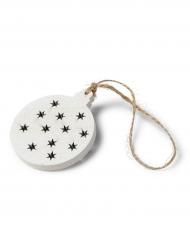4 Décoration boules graphiques étoile bois blanc 7 cm