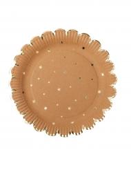 8 Assiettes kraft étoiles et festons dorés 23 cm