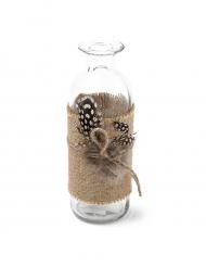 Vase Plumes mouchetées et toile de jute 5,5 x 16 cm