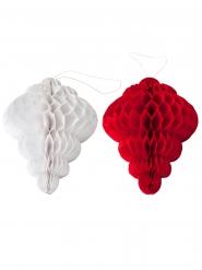8 Décorations alvéolées rouge & blanc 10cm