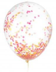 6 Ballons en latex confettis fluo 30 cm