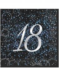 16 Serviettes en papier 18 ans confettis bleus 33 x 33 cm