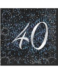 16 Serviettes en papier 40 ans confettis bleus 33 x 33 cm