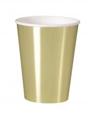 8 Gobelets en carton doré métallisé 25 cl