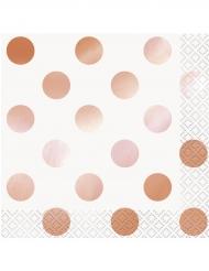 16 Petites serviettes en papier à pois rose gold 25 x 25 cm