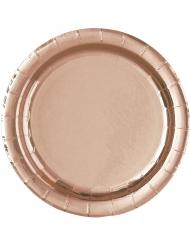 8 Assiettes en carton rose gold 23 cm