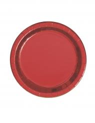8 Assiettes en carton rouge métallisé 23 cm