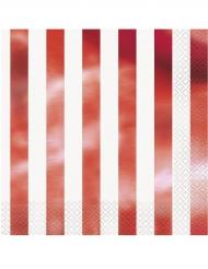 16 Serviettes en papier rayures rouge métallisé 33 x 33 cm