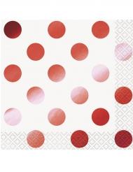 16 Petites serviettes en papier pois rouge métallisé 25 x 25 cm