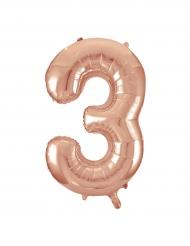 Ballon aluminium rose gold chiffre 3 86,3 cm