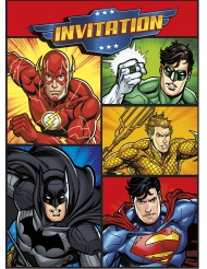 8 Cartes d'invitation et enveloppes Justice League ™
